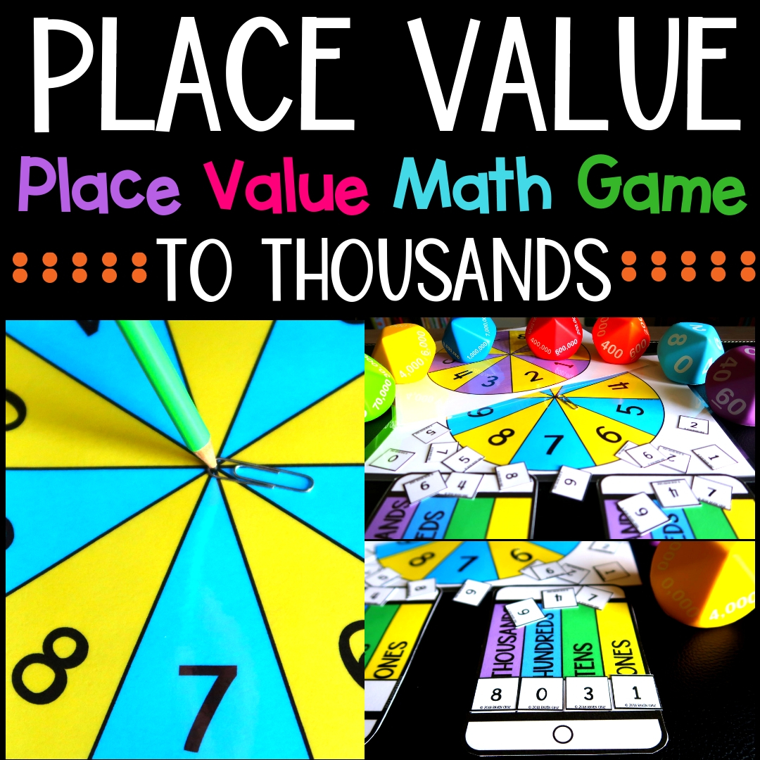 Place value can be fun! Use this place value math game to spice up you centers and more. Place value to thousands. #placevalue #mathcenters #thirdgrademath #secondgrademath #homeschoolmath #teacherspayteachers