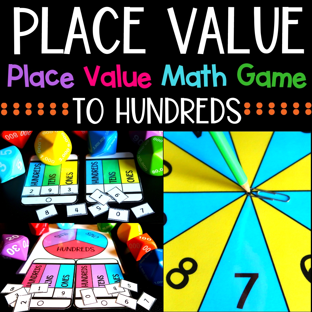 Place value can be fun! Use this place value math game to spice up you centers and more. Place value to hundreds. #placevalue #mathcenters #thirdgrademath #secondgrademath #homeschoolmath #teacherspayteachers