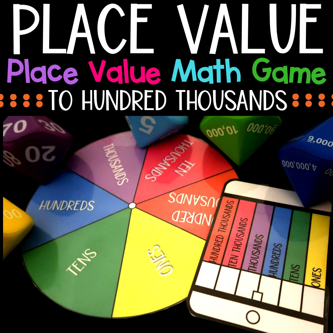 Place value can be fun! Use this place value math game to spice up you centers and more. Place value to hundred thousands. #placevalue #mathcenters #thirdgrademath #secondgrademath #homeschoolmath #teacherspayteachers