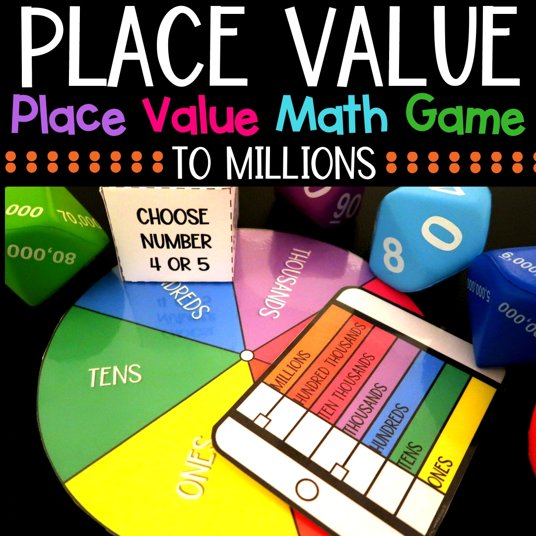 Place value can be fun! Use this place value math game to spice up you centers and more. Place value to millions. #placevalue #mathcenters #thirdgrademath #secondgrademath #homeschoolmath #teacherspayteachers