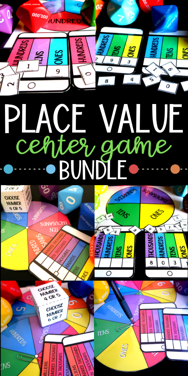 Are you looking for a place value game that will spice up your place value lesson? Maybe you want to boost morale in your elementary math class. This bundle comes with place value to hundreds, place value to thousands, place value to hundred thousands, and place value to millions. #placevalue #centergames #homeschoolmath #secondgrade #thirdgrade #fourthgrade