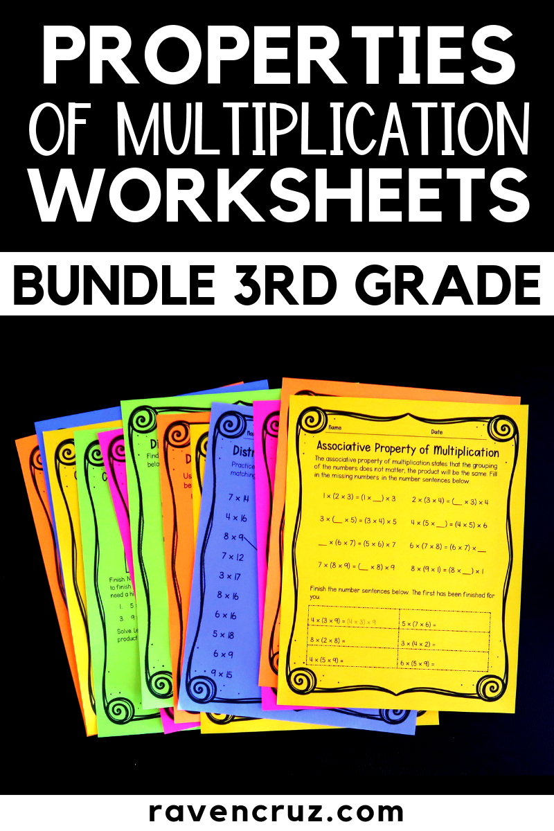 Properties of multiplication worksheets for third grade featuring the