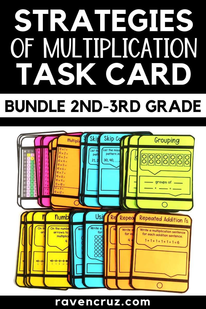 Learn the Strategies of Multiplication with engaging task cards for second through third-grade math.