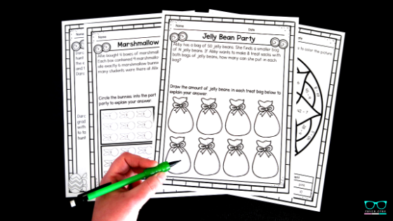 Third-grade Easter and Spring Math Worksheet and Center Bundle
