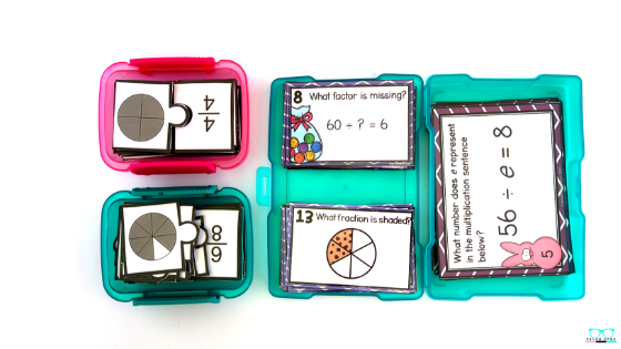 Third-grade Easter Math fractions game with multiplication and division task cards in photo boxes for storage.