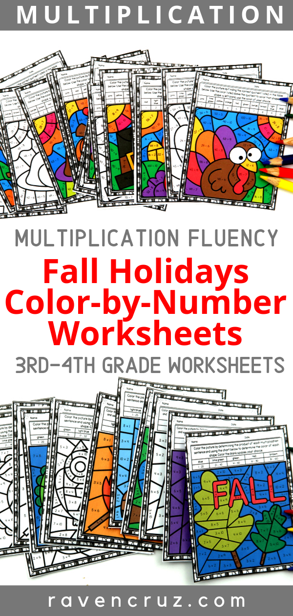 Grab these fall holiday color-by-number multiplication worksheets for 3rd grade and 4th grade. The fall seasons include fall/autumn, Halloween, Veterans Day, and Thanksgiving. #fall #thirdgrade #fourthgrade