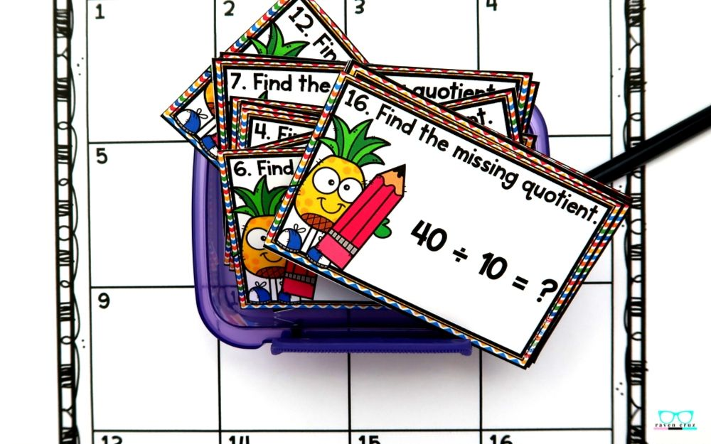 convenient task card containers for multiplication