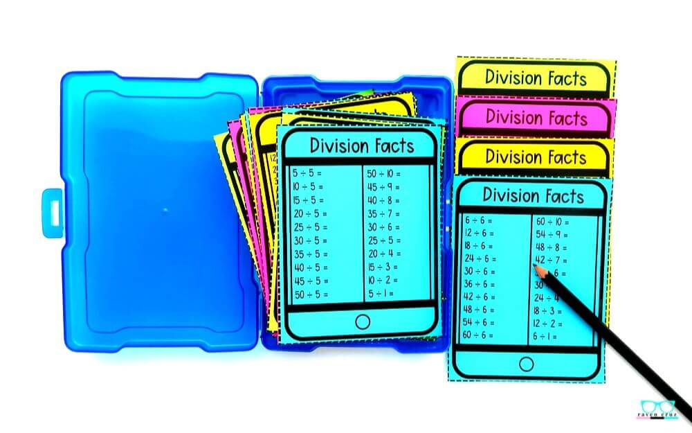 Division fact fluency task cards printed on colored paper.