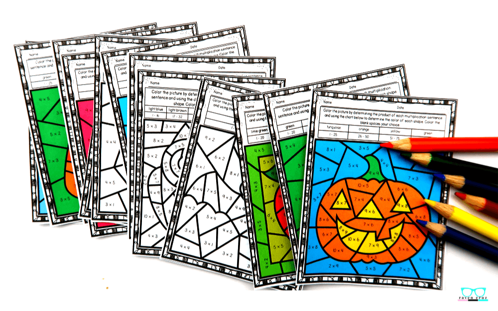Halloween multiplication worksheets for third-grade and fourth-grade.