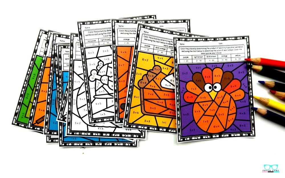 Thanksgiving multiplication worksheets for third-grade and fourth-grade.