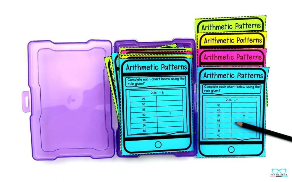 arithmetic pattern task cards for 3rd grade