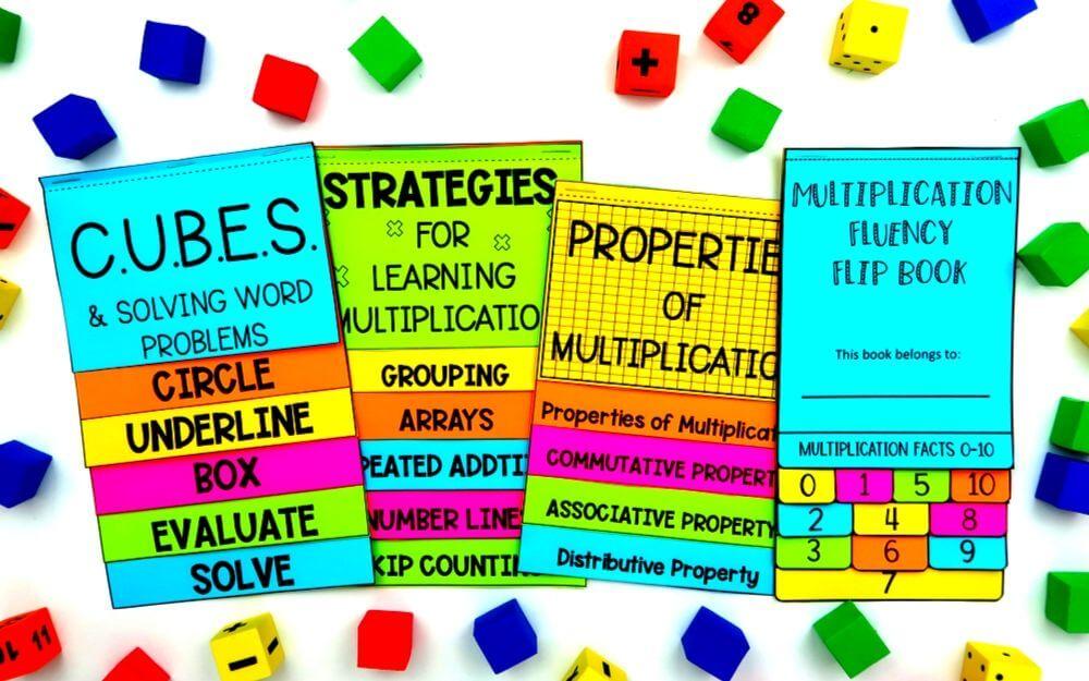math flip book bundle for third grade