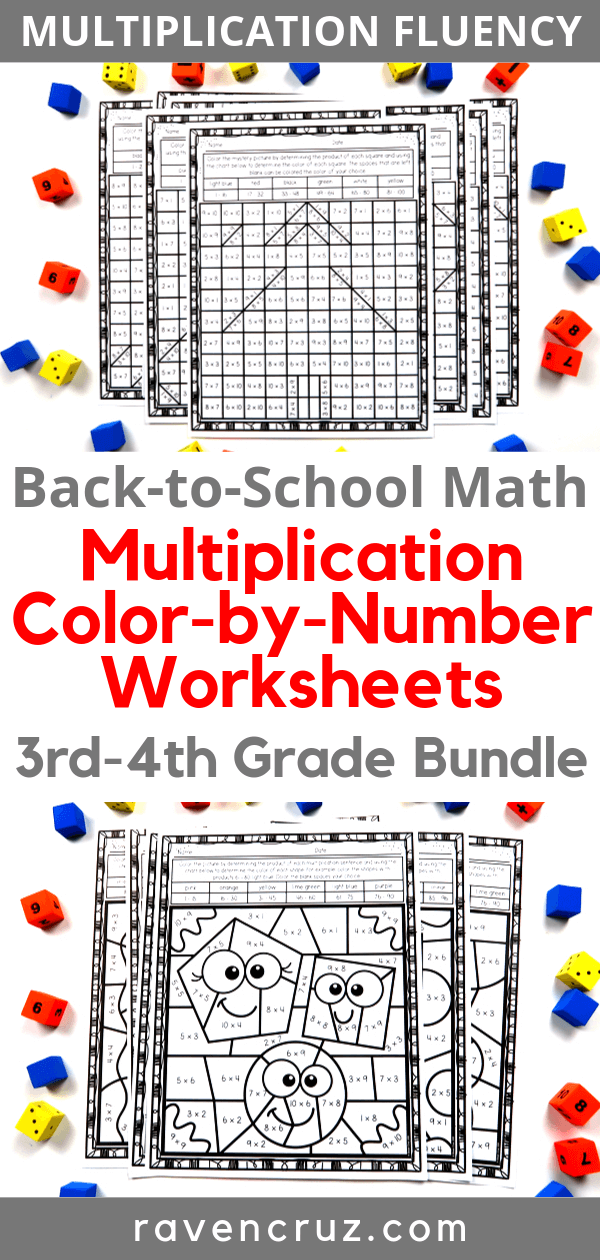 Start your back-to-school season off right with these color-by-number multiplication worksheets for 3rd-grade and 4th-grade. #thirdgrade #fourthgrade