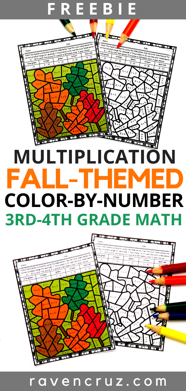 Fall-themed math multiplication color-by-number worksheets.