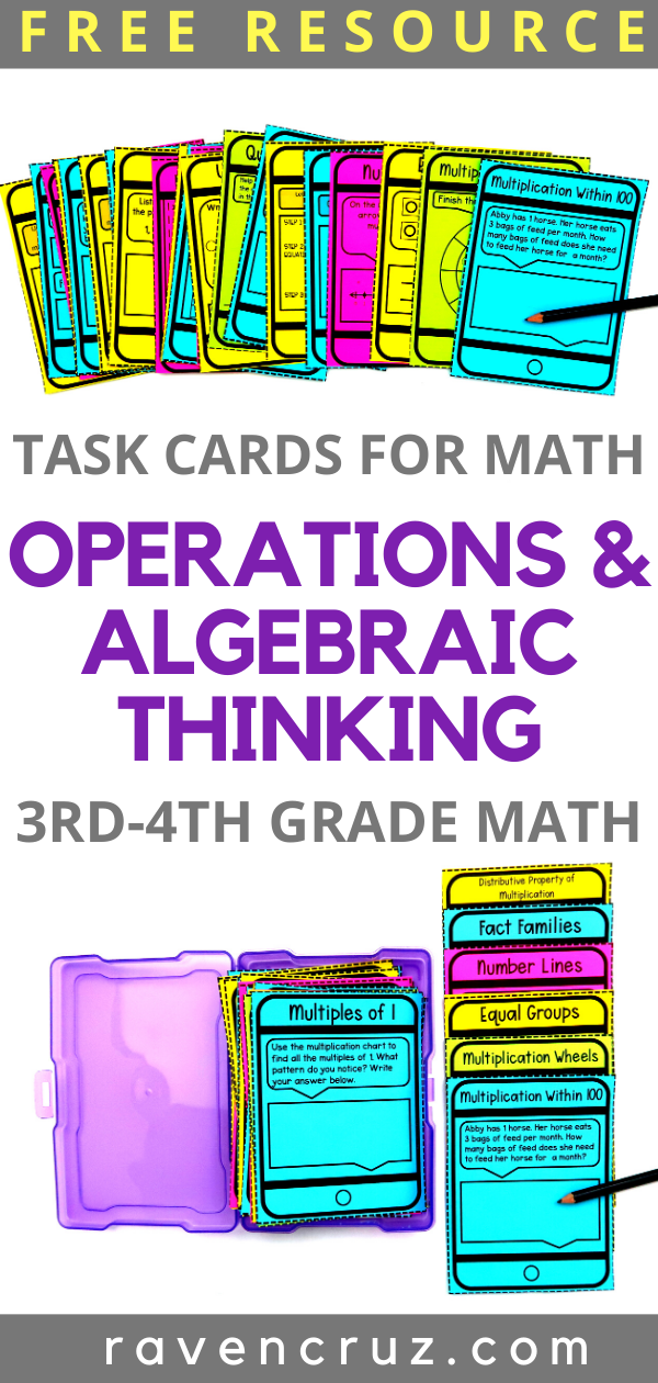 Task card freebie for Operations and Algebraic Thinking.