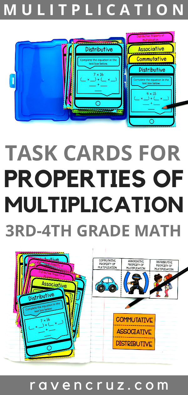 Properties of multiplication task cards for third-grade math.