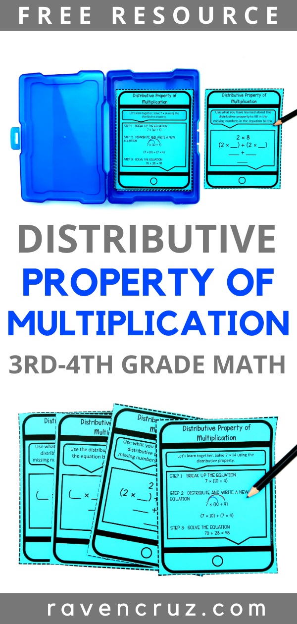 Distributive property of multiplication task cards for 3rd-grade.