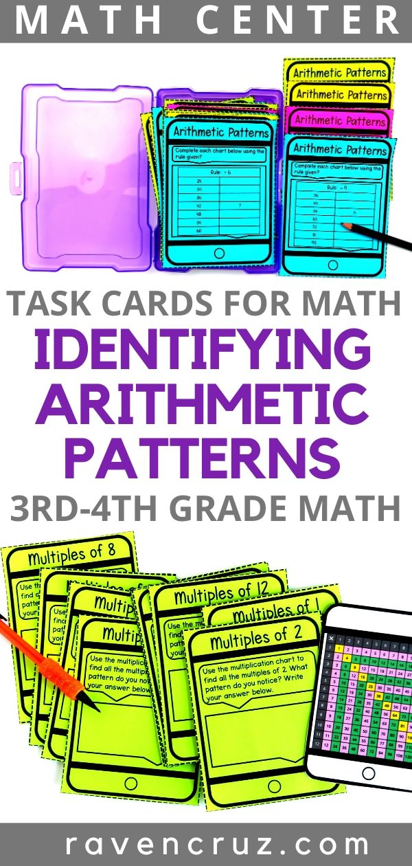 Identifying arithmetic pattern task cards for 3rd-grade math.