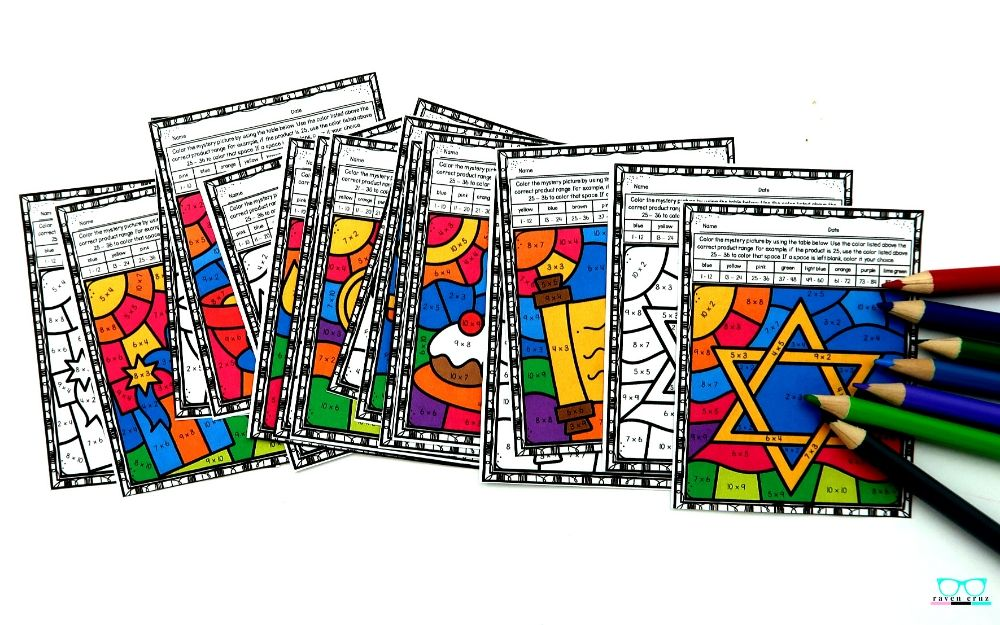 Hanukkah multiplication and division color by number worksheets.
