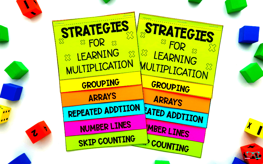 Strategies of multiplication flip book printed on colored paper.