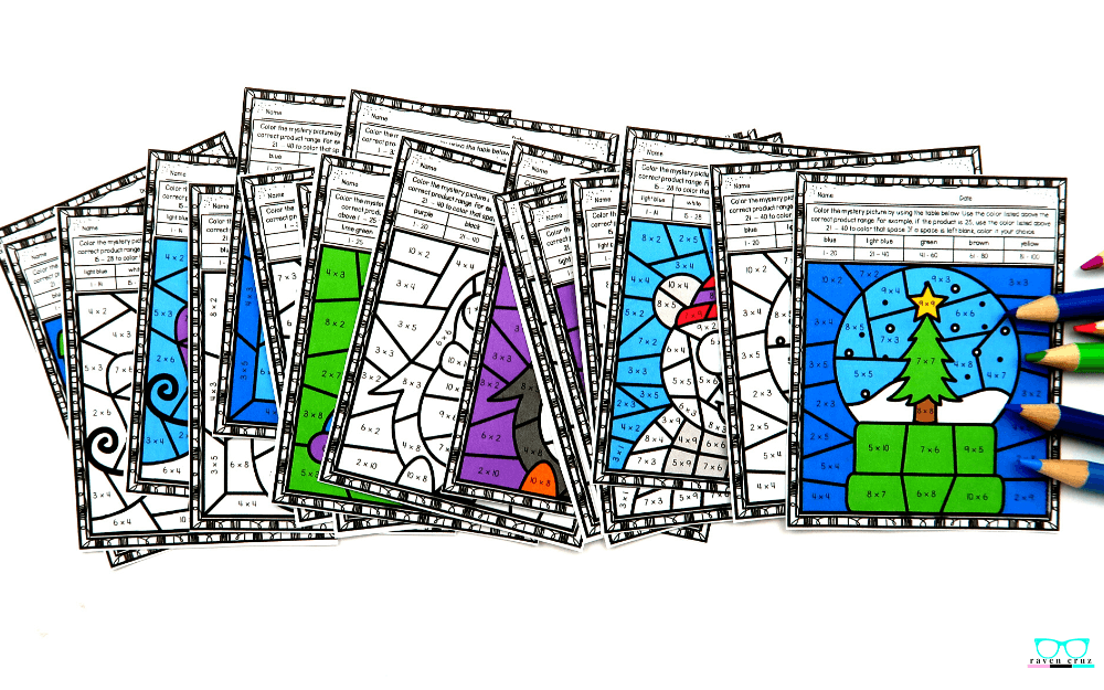 Winter multiplication color by number worksheets for 3rd-grade.