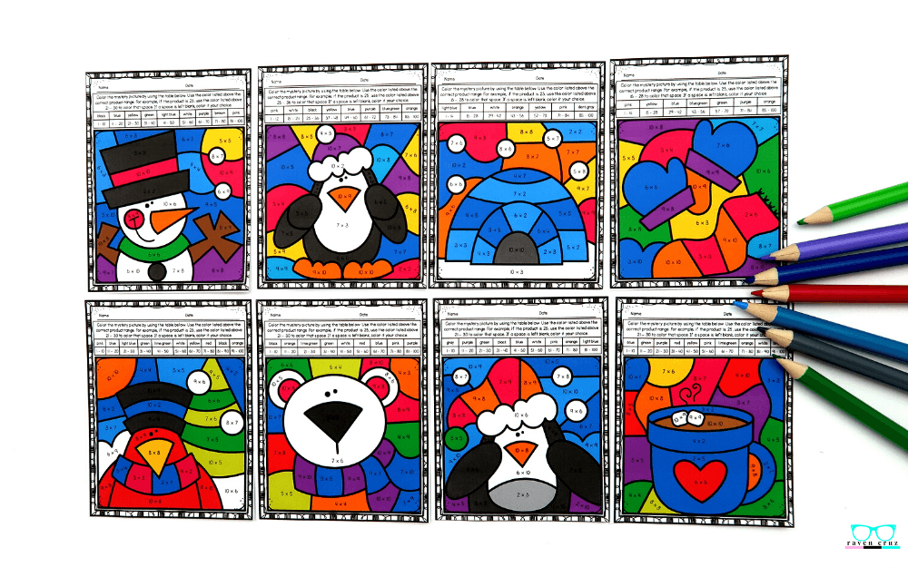 Winter multiplication color by number worksheets for 3rd-grade.