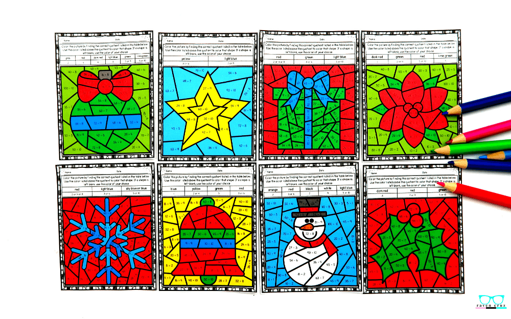 Christmas multiplication color by number worksheets for 3rd and 4th grade.