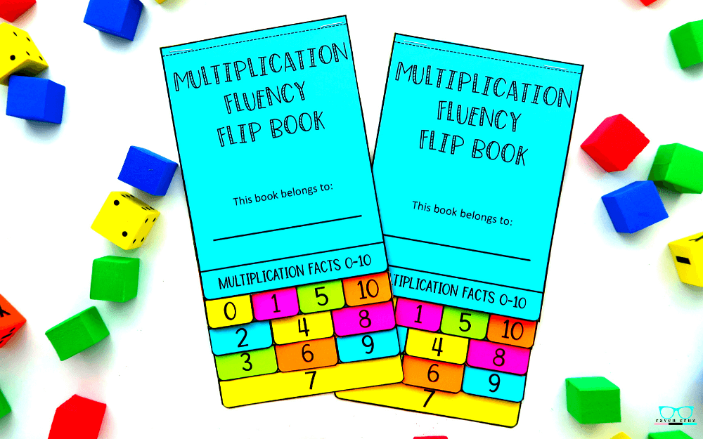 Multiplication fluency flip book with facts 0-10 and 0-12 printed on colored paper.