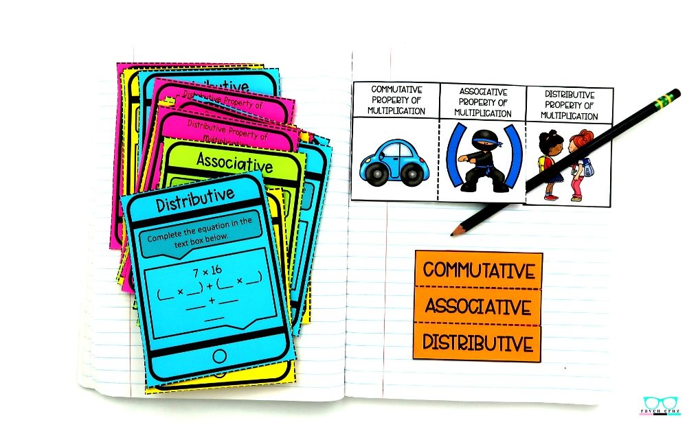 Properties of multiplication task cards and interactive notebook for third-grade math.
