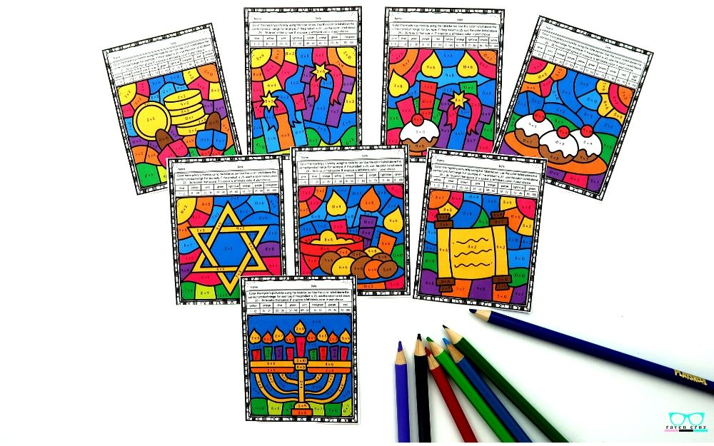 Hanukkah multiplication color by number worksheets for 3rd-grade and 4th-grade.