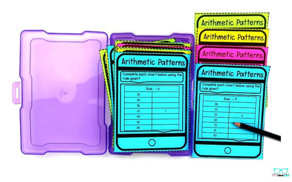 Arithmetic patterns task cards for elementary math.