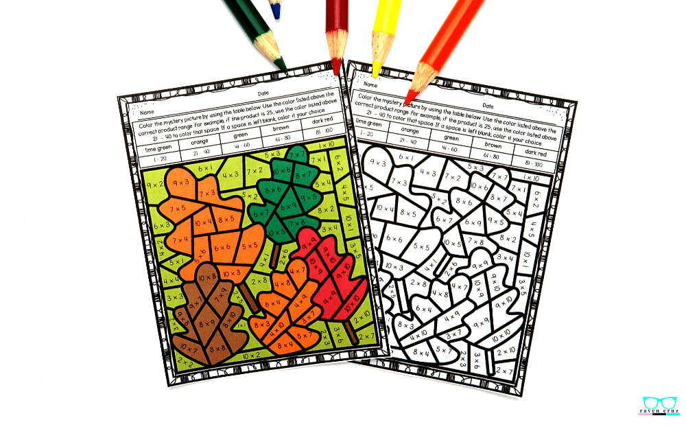 Fall math multiplication color-by-number worksheets.