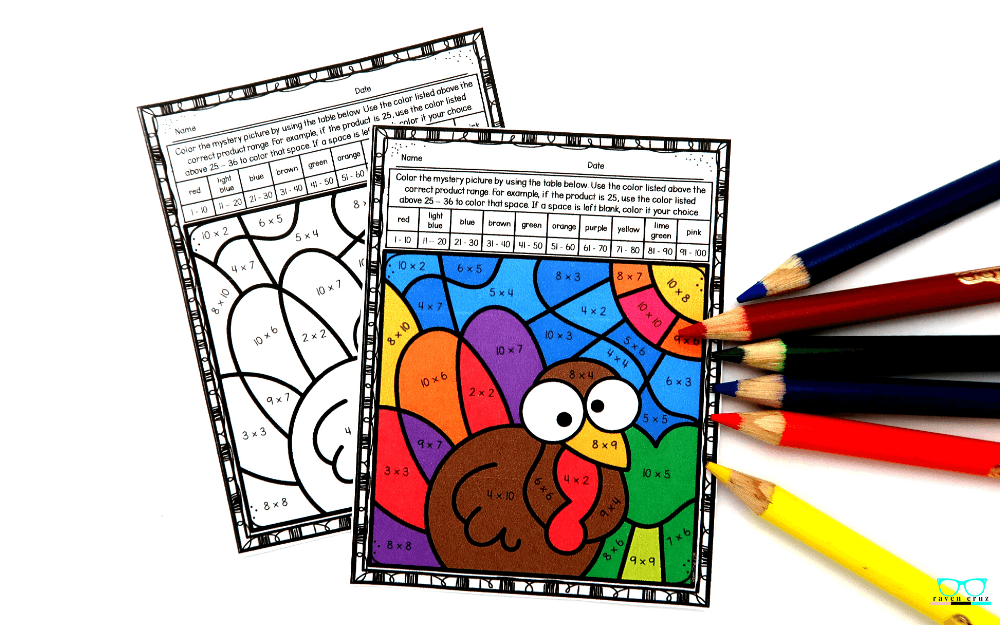 Thanksgiving multiplication color-by-number worksheets.