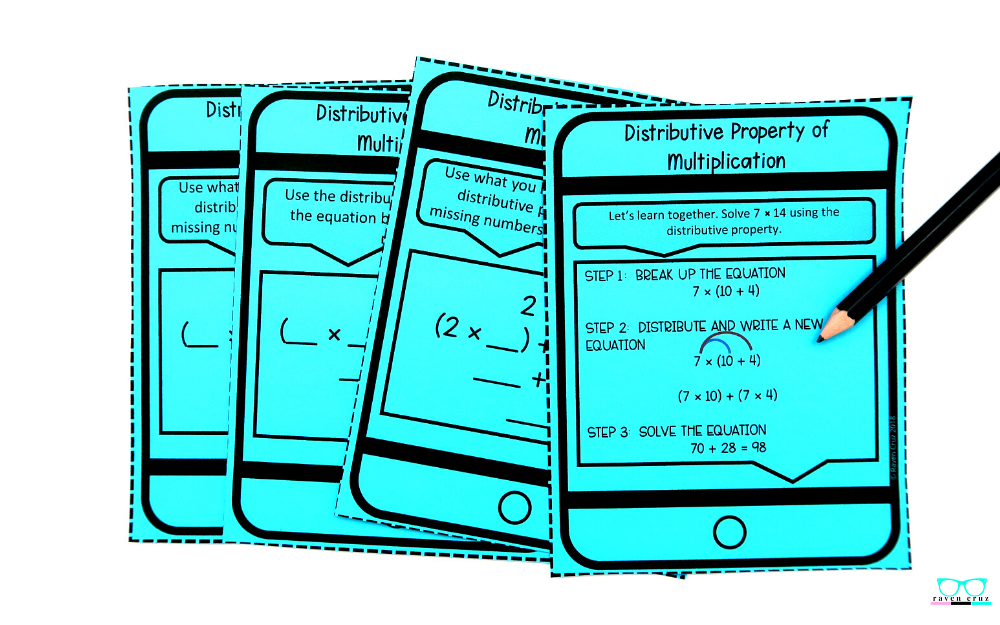 Distributive property of multiplication task cards for 3rd-grade.