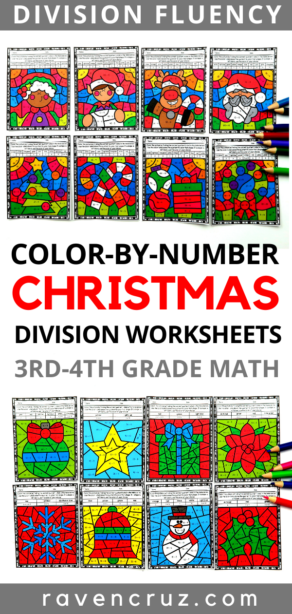 Color by number Christmas division worksheets