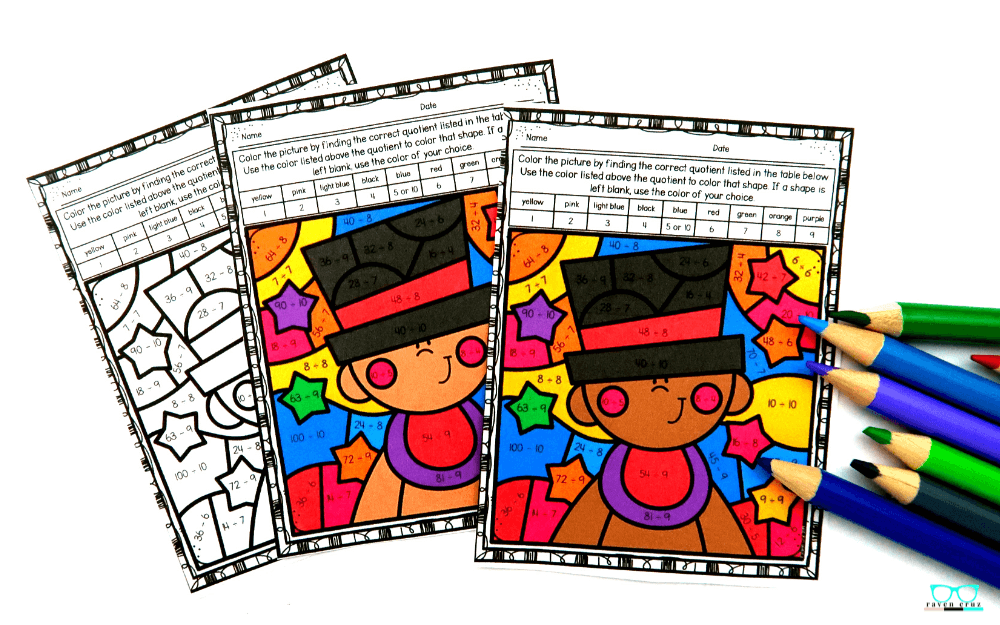 Color by Number Division Worksheets for New Year's
