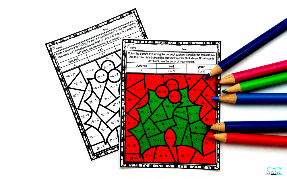 Holly color by number division worksheet.