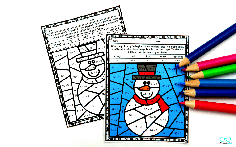 Snowman division color by number worksheet.