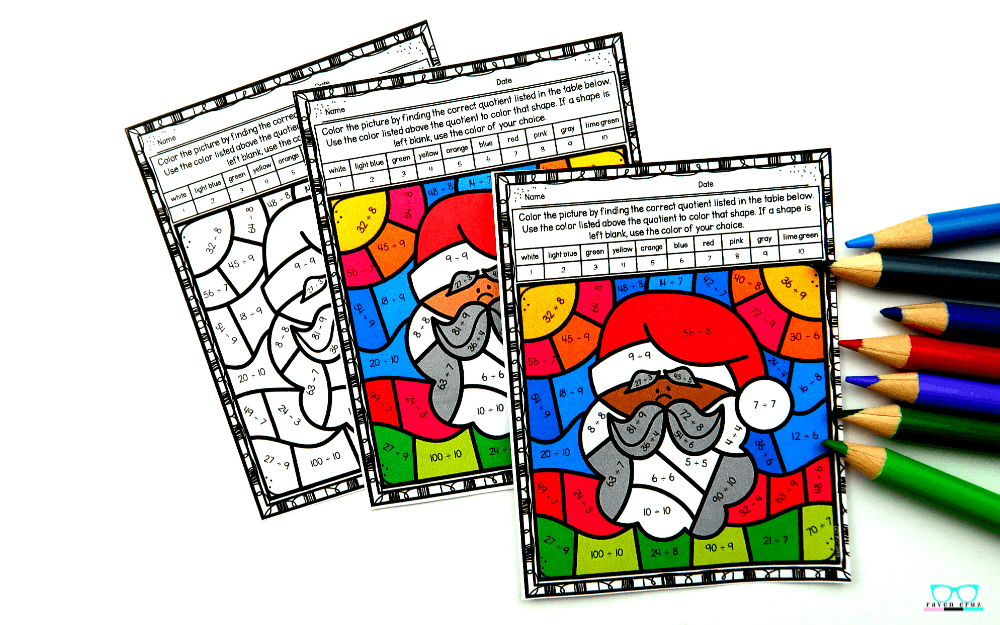 Diverse Santa color by number worksheet for division.