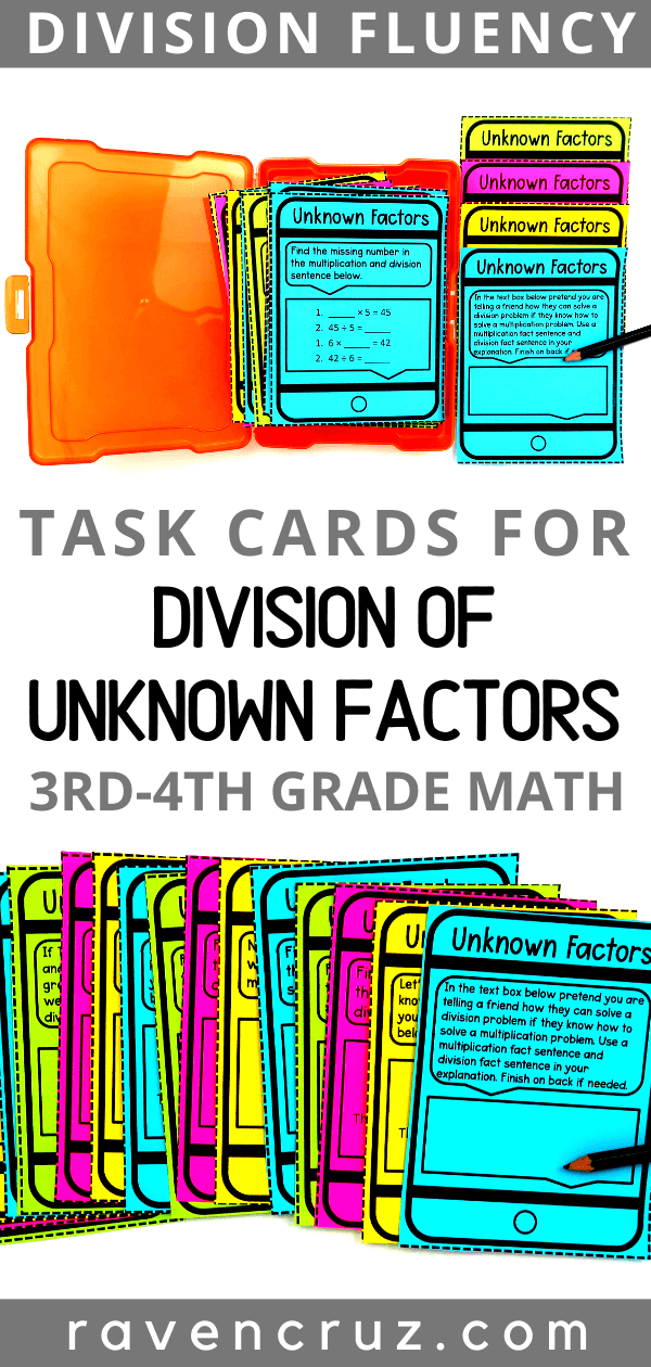 Division task cards for 3rd grade math.