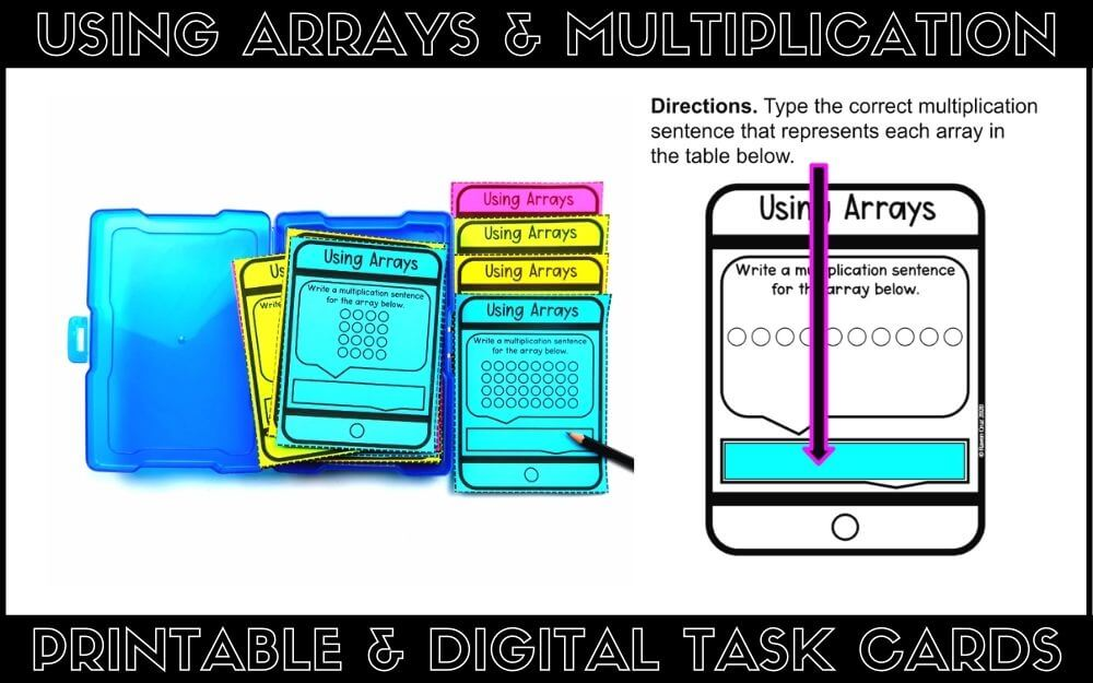 Printable and digital arrays and multiplication task cards