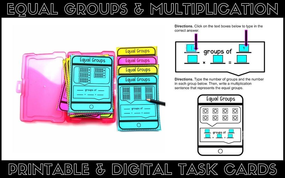 Digital and printable equal groups task cards