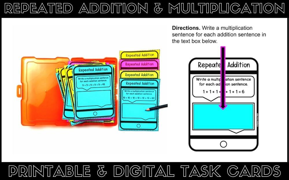 Printable and digital task cards for repeated addition