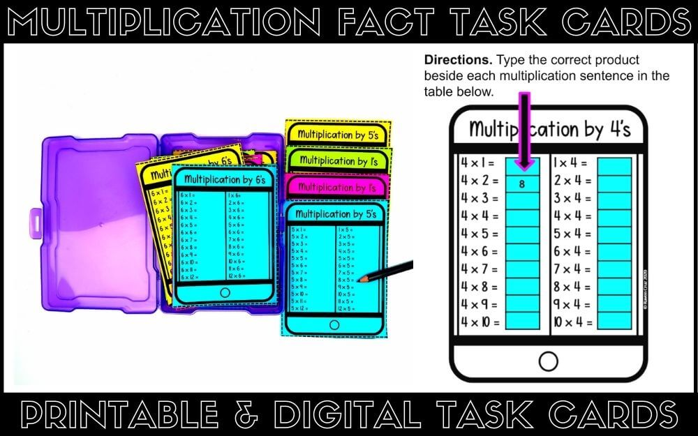 printable and digital multiplication fact task cards