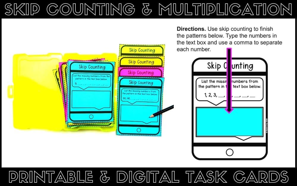 Skip counting and multiplication task cards