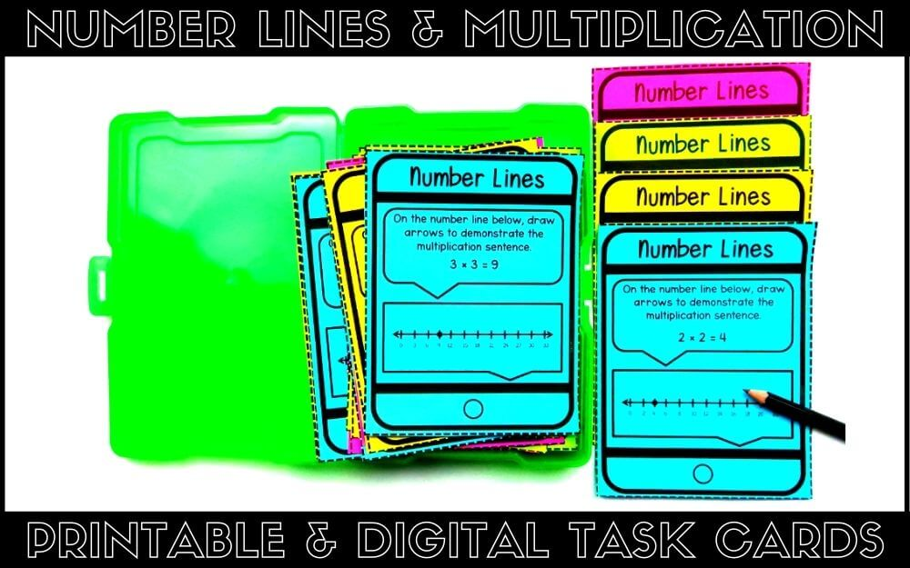 printable number lines and multiplication task cards