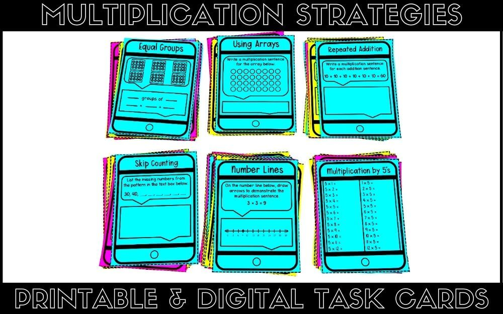 Printable and digital multiplication strategies task cards for 3rd-grade math