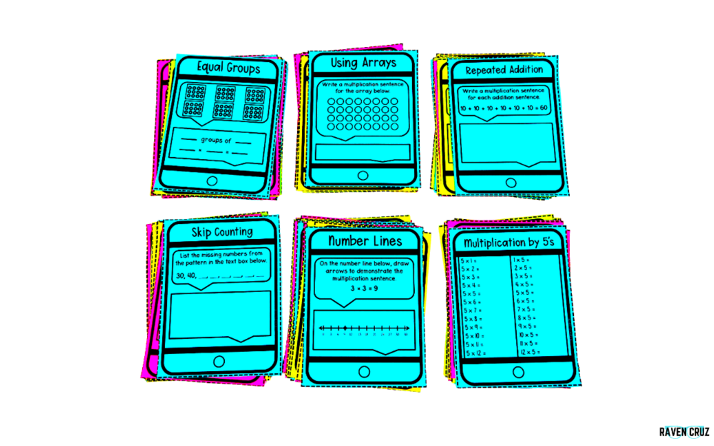 Digital and printable equal groups task cards