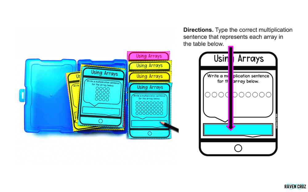 Digital and printable using arrays task cards