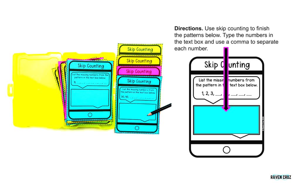 Digital and printable equal skip counting task cards